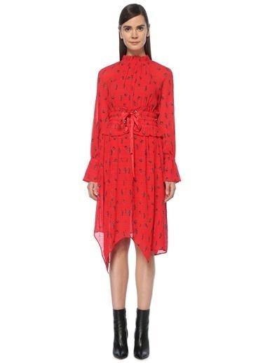 Mo&Co Çiçekli Fırfırlı Şifon Elbise Kırmızı